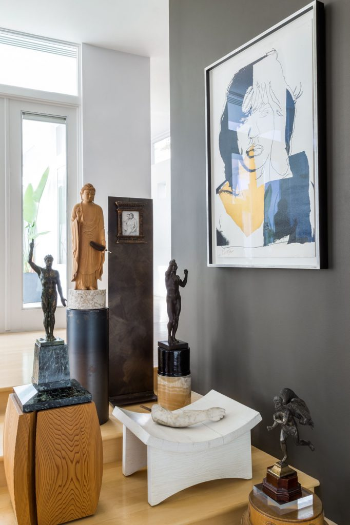 Roger Thomas Marin County hills home -collection of statues.